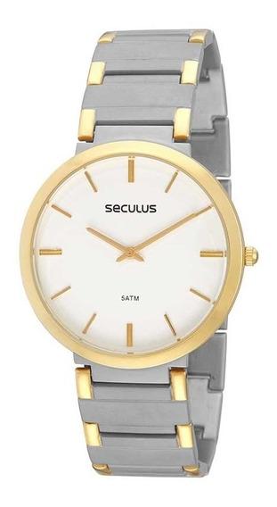 Seculus Relógio Clássico Em Aço Bicolor