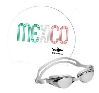 Set Gorra Natacion Mexico Bca Y Goggle Apollo Plata Escualo