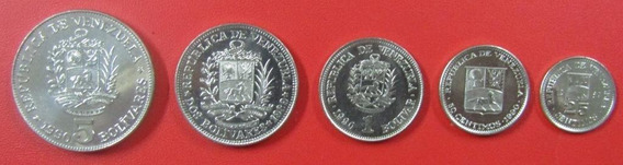 Venezuela Set 5 Monedas Bolivar 1989 - 1990 Unc Sin Circular