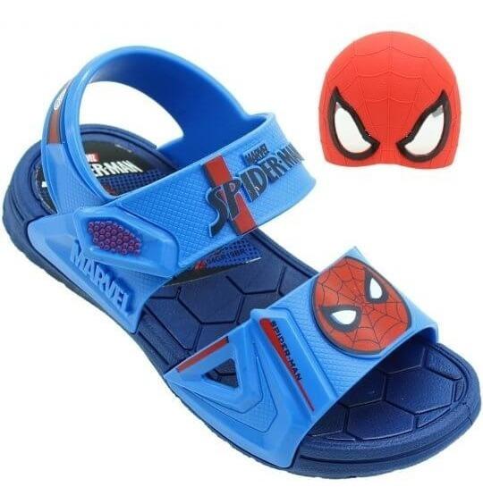 Sandália Infantil Marvel Hero Homem Aranha Masculina + Brinde Azul/vermelha