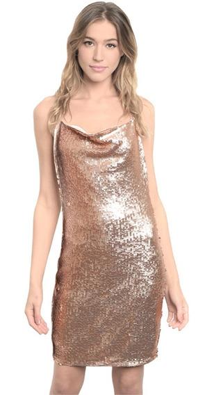 Vestido De Lentejuela Corto Escote En Espalda Rose Gold Sexy