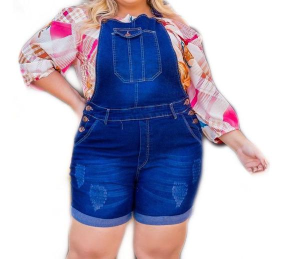 Macacão Jardineira Jeans Plus Size Fique Na Look Gg- Ref. 16