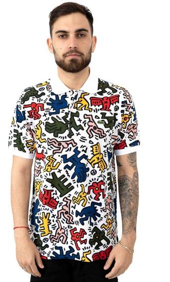 Playera Lacoste Keith Haring Print Pique Polo White Original