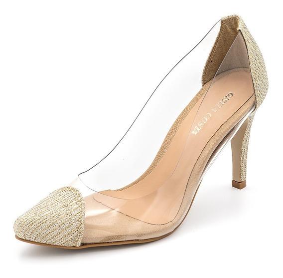 Sapato Scarpin Material Transparente Dourado Salto Fino