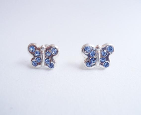 Mariposas Con Cristales Azules De Plata Pura Ley .925