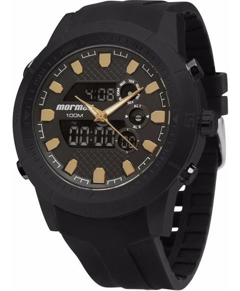 Relógio Mormaii Masculino Anadigi Mo2495b/8p Preto Aço