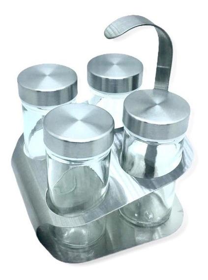 Porta Condimentos Temperos Gourmet Inox E Vidro 5 Peças 80ml