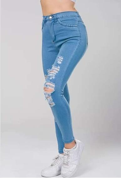 Jeans Claro C/ Roturas - Excelente Calce Y Calidad