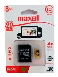 Tarjeta Memoria Maxell Microsd 8gb Clase10 Velocidad 90mb/s