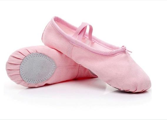 Zapatillas Media Punta Lona Y Gamuza Ballet Niña Color Rosa