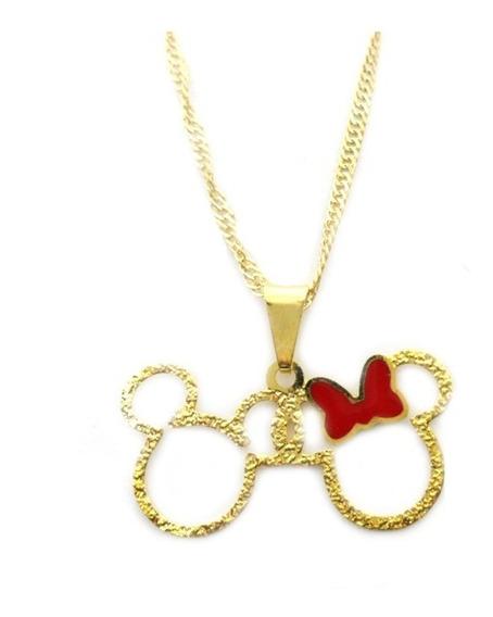 Colar Corrente E Pingente Mini Mickey E Minnie Folheado Ouro