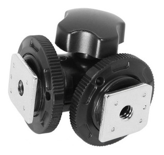 Video Photo TriPod Dual Hot Shoe Adapter Mount Head Cabezal Montura De Doble Zapata Fria
