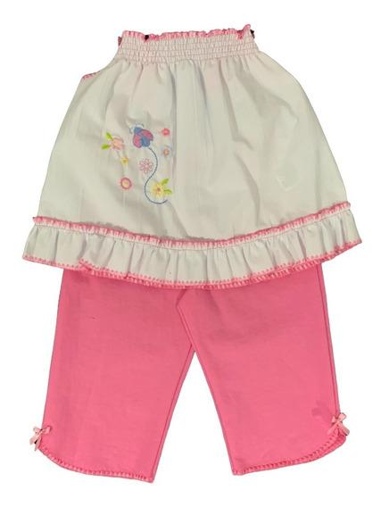 Conjunto Niña Resorte Bordado Bebe (vestido+pantalon)