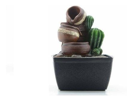 Fuente De Agua C/led 3 Jarrones Y Cactus 17cm