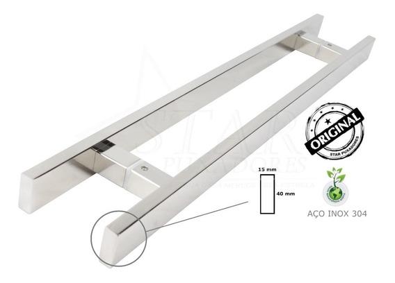 Puxador Aço Inox 40cm Porta Madeira E Vidro - Duplo (par)