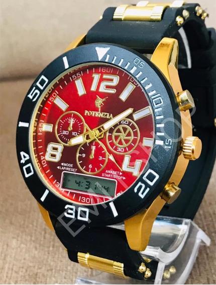 Relógio Masculino Dourado Militar Potenzia