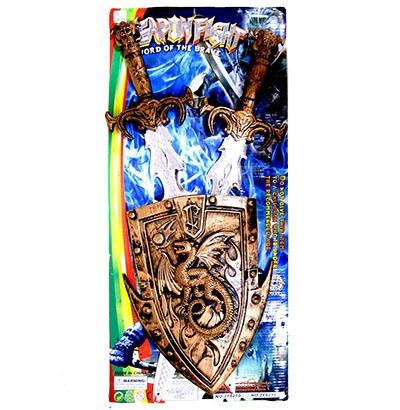 Kit Medieval Escudo De Brinquedo Infantil Com 2 Espadas