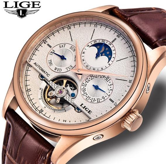 Relógio Automático Tourbillion Luxuoso Legítimo Lige 5atm
