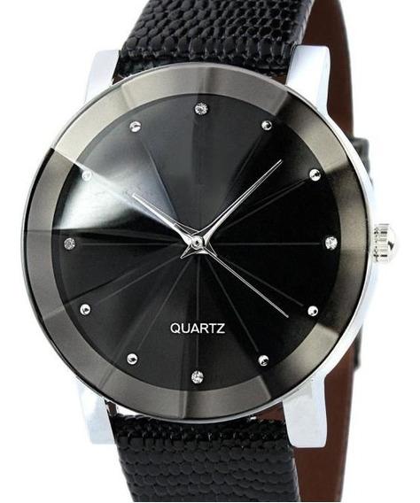 Relógio Prata Feminino Pulseira Preto Rg103f Promoção!!!
