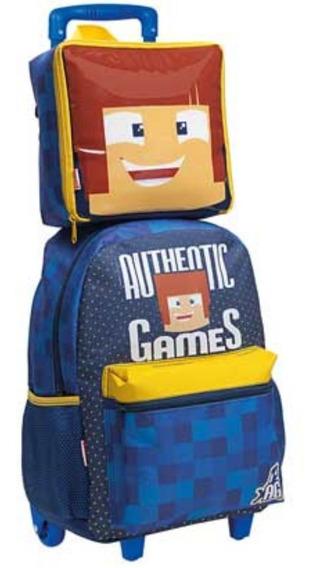 Kit Mochila Infantil Authentic Games Escolar Com Rodinha