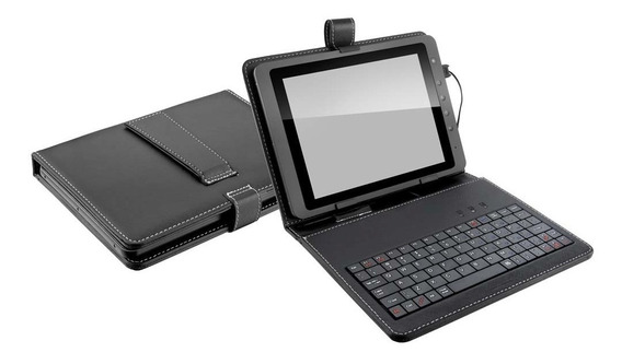 Case Capa Com Teclado Tablet 7 Polegadas Micro Usb V8 Preto