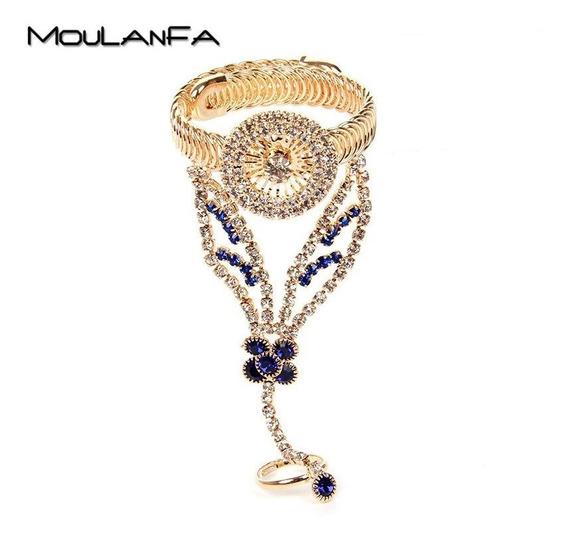 Luxuosa Pulseira Anel Bracelete Dourada Strass Azul