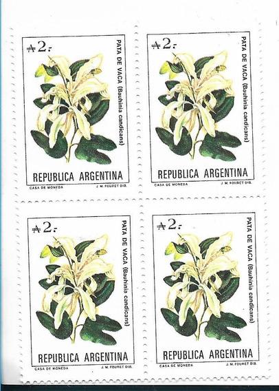 Estampillas Argentina Año 1988 Flores, Bloque De 4, Mt 1716