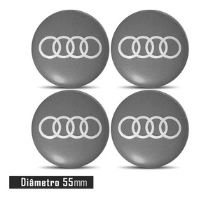 Jogo 4 Emblema Logo Adesivo Roda Audi 55mm