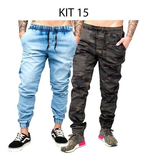 2 Calças Jeans Camuflada Lisa Masculina Jogger Punho Lycra