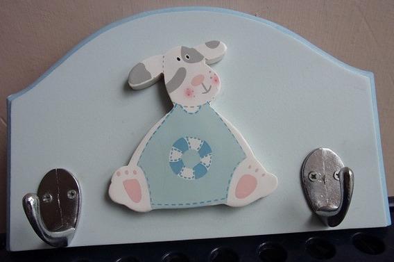 Perchero De Madera Para Bebe - Figura De Perrito