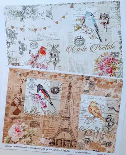 Decoupage Laminas Set Pajaros Vintage Laura Craft