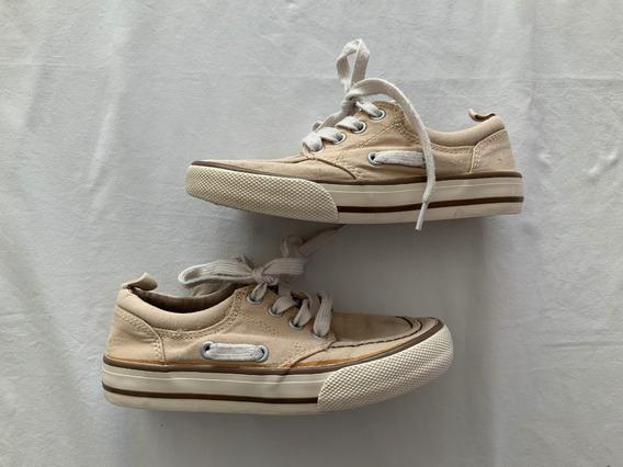 Old Navy. Zapatillas Lona Beige. Talle 31 (con Detalle)