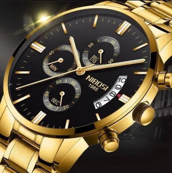 Relógio Nibosi Casual Masculino 2309 De Luxo Prova D Água