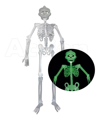 Imagem 1 de 4 de Esqueleto Neon Brilha No Escuro 90cm Festa Halloween