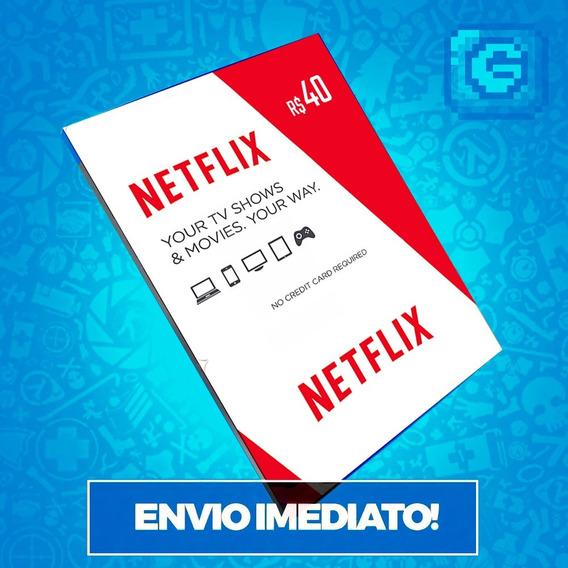 Cartão Pré-pago Presente Netflix R$ 40 Reais Envio Imediato