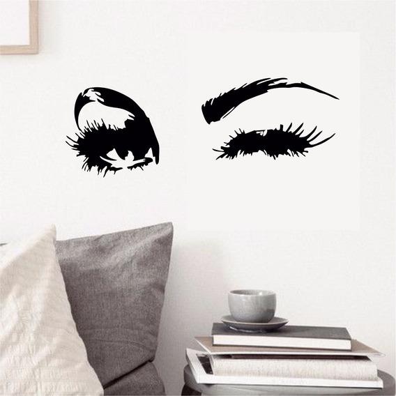 Adesivo Parede Salão Beleza Olhos Cílios Piscando Maquiagem