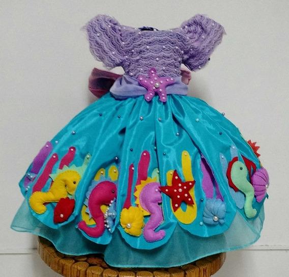 Vestido Infantil Princesa Fundo Do Mar