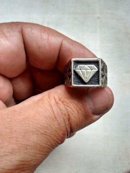 Anel Masculino Metal Cromado Diamante