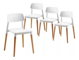 Sillas Milan Nordicas Madera Diseño Moderno Novara X4