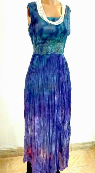 Vestido Largo Diseño Batik Talle M De Gasa, Boho