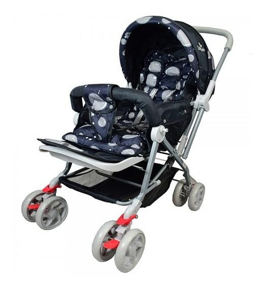 Carrinho Bebê Vira Berço Preto Com Alça Reversível