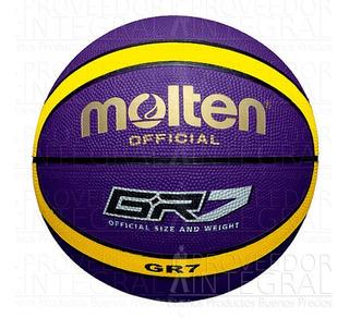 Balón Basquet Baloncesto #7 Caucho 12 Panel Colores Molten