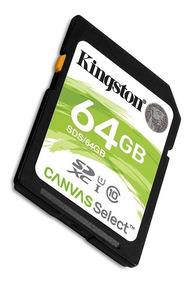 Memoria Sd Hc 64gb Kingston Clase 10 Full Hd Camara Digital