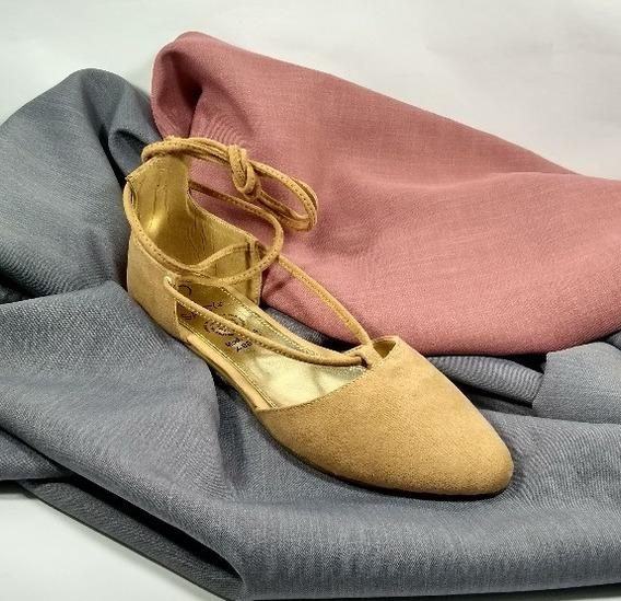 Flats Zapatos Piso Sary 7384 Balerinas Camel Envio Gratis