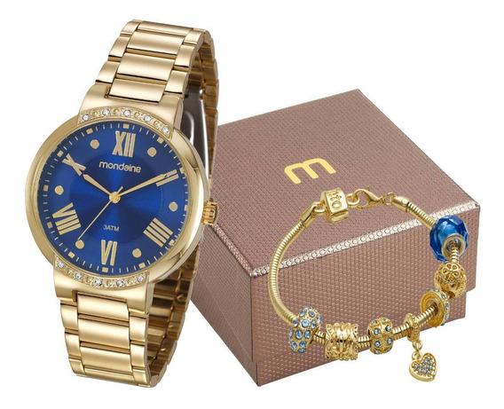 Relógio Mondaine Feminino Dourado Luxo + Pulseira 99298lpmgd