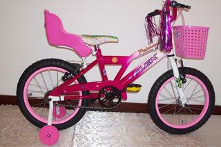 Bicicleta Nena Rodado 16 Rueditas,sillita Y Canasto Flex