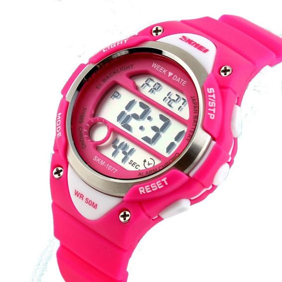 Relógio Infantil Skmei Mod. 1077 A Prova Água Rosa Promoção