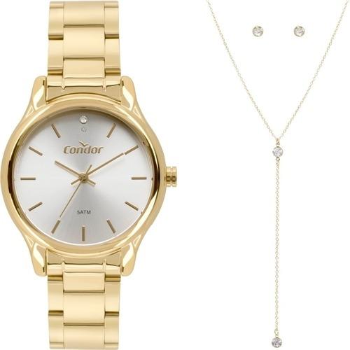 Relógio Original Fem Dourado + Colar Brinco Co2035fby/k4b