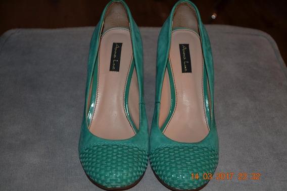 Sapato Tipo Anabela, Cor Verde, Nº 35, Marca Anna Luz