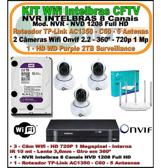 Kit Intelbras Nvd 1208 3 Cam Wifi 720p Rot. Ac1350 + Hd 2tb